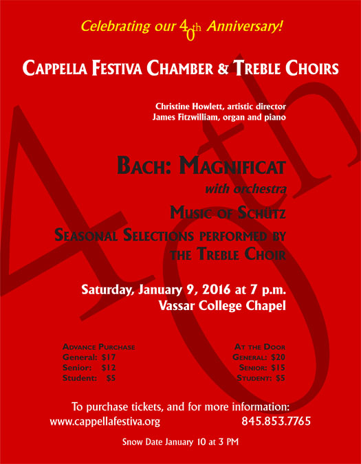 Flyer for January 9, 2016 concert